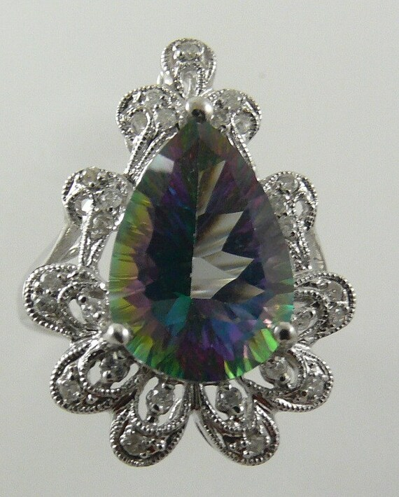 Mystic Topaz 6.80ct Ring 14k White Gold with Diamonds 0.19ct