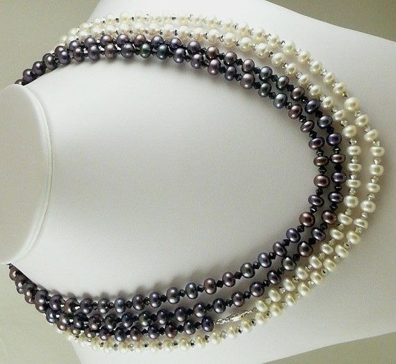 """Black and White Fresh Water Pearl Necklace with Black and Comet Czech Crystal 100"""""""