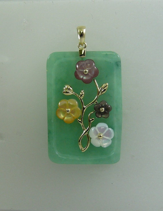 Green Jade 25.4 x 38.1 mm and Mother of Pearl Pendant 14k Yellow Gold
