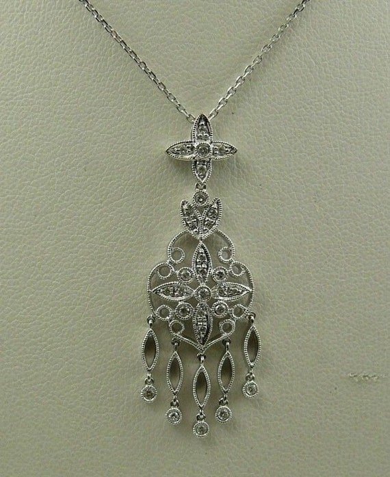 Diamond 0.35ct Pendant with 14k White Gold Chain 18 Inches