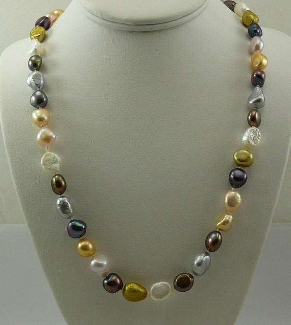 Cultured Freshwater Multi Color Pearl Necklace 34 Inches, 14k White Gold Lock