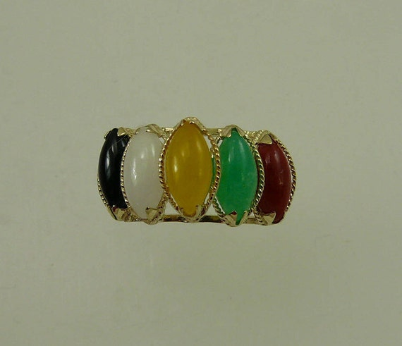 Multi-Color Jade 4 x 8 mm Ring With 14k Yellow Gold