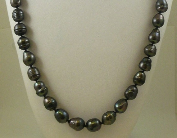 Freshwater Black Baroque Pearl Necklace with Silver Clasp 36 Inches