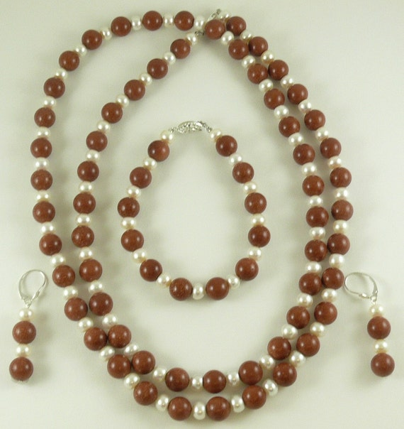 Freshwater Pearl and Goldstone Beads Necklace Earring and Bracelet Set Silver Clap