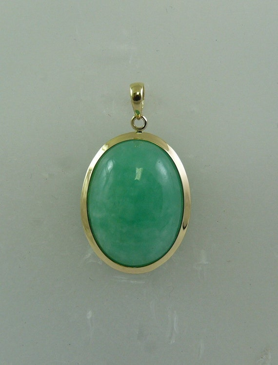 Green Jade 15mm x 20mm Pendant 14k Yellow Gold