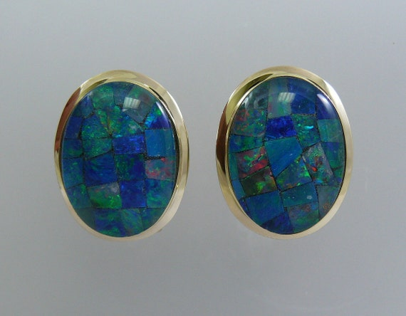 Mosaic 13.1 mm x 17.8 mm Opal Earring with 14k Yellow Gold