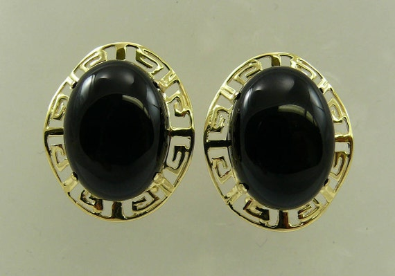 Black Onyx 16.4 mm x 12.1 mm Earrings 14k Yellow Gold