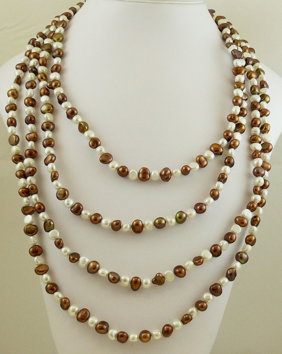 """Freshwater Chocolate & White Pearl Necklace with Sterling Silver Fish Lock,100"""" Long"""