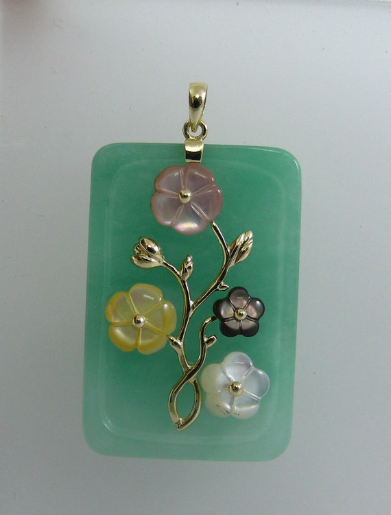 Green Jade 25.3 x 38.1 mm and Mother of Pearl Pendant 14k Yellow Gold