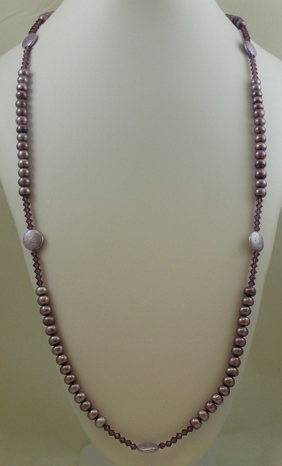 Freshwater Purple Pearls with Purple Austrian Crystals