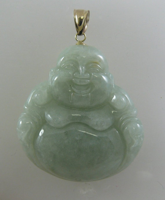 Jade Buddha Pendant 14k Yellow Gold