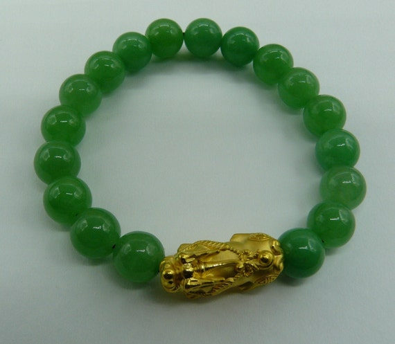 Jade Beaded Bracelet with 24k Yellow Gold Dragon 7 1/2 Inches