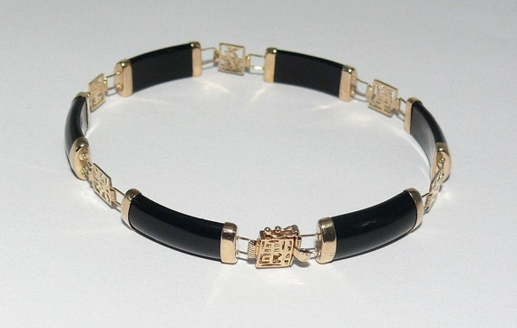 Black Onyx 6.9 mm x 19.1 mm Bracelet 14k Yellow Gold