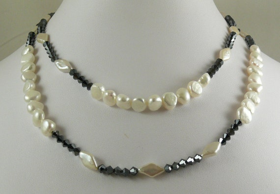Freshwater White Pearl Necklace with Black Crystal 34 Inches