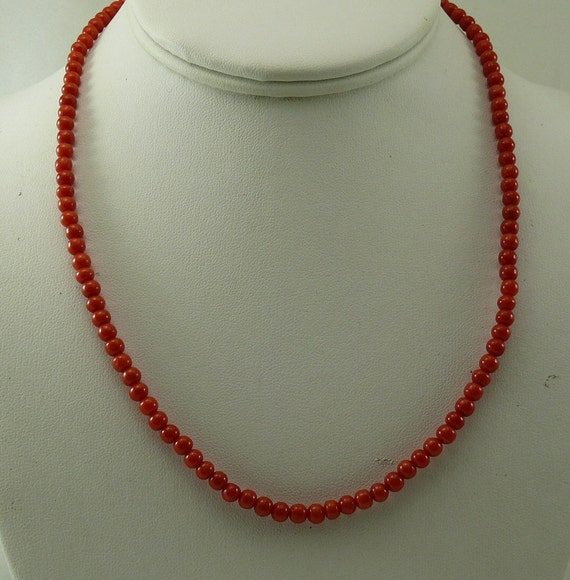 Italian 4.5 mm - 4.7 mm Coral Necklace With 14K Yellow Gold Clasp 18 Inches