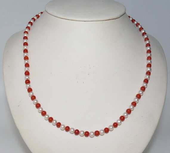 Freshwater White Pearl and Italian Coral Necklace 14k White Gold Clasp