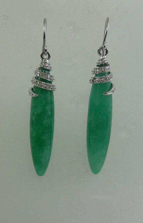 Green 6 x 28 Jade Earrings 14k Yellow Gold and Diamonds 0.03ct