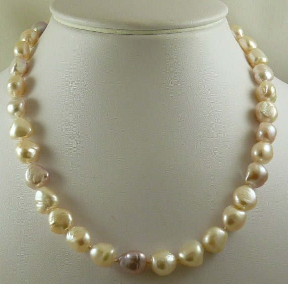 Freshwater Peachy Pink Pearl Necklace with 14k White Gold Clasp 18 1/4 inches