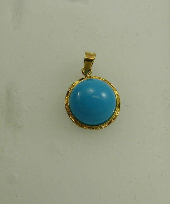 Reconstituted Round 11 mm Turquoise Pendant, 14k Yellow Gold