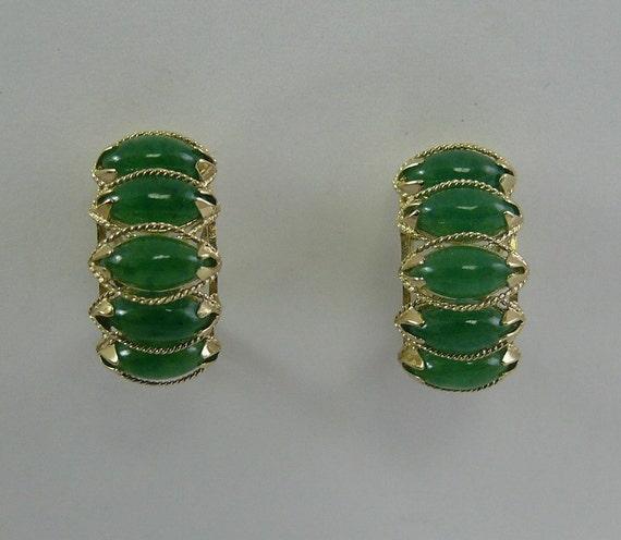 Green 4 x 8 mm Jade Earrings 14k Yellow Gold