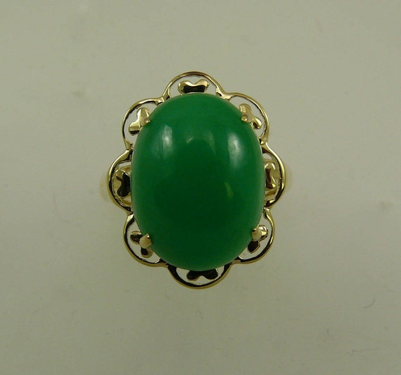 Green Jade 16.1 mm x 12.2 mm Ring 14k Yellow Gold