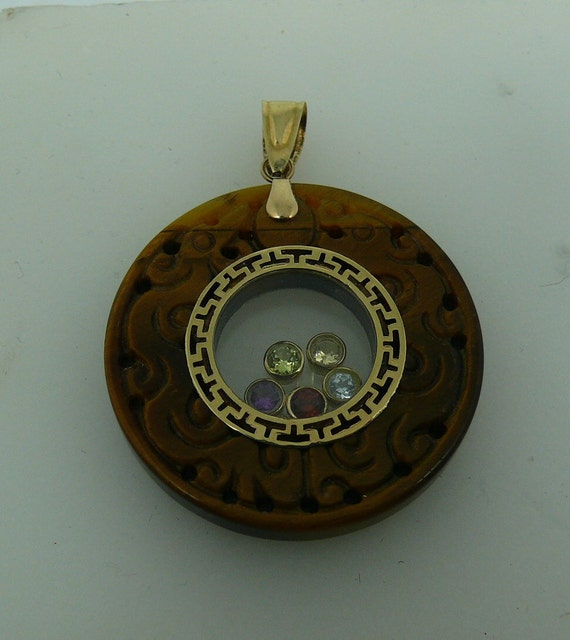 Tiger's Eye Pendant with Multi-Color Gem Stone 14k Yellow Gold