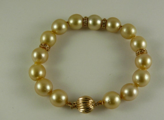 South Sea Golden Pearl Bracelet with Sapphire Rondel and 14k Yellow Gold Clasp