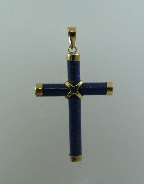 Lapis Cross Pendant with 14k Yellow Gold
