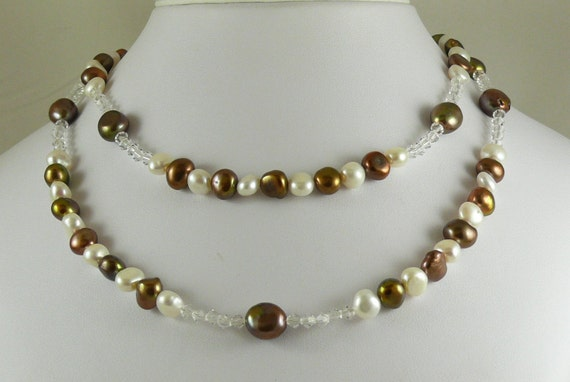 Freshwater White and Chocolate Pearl Necklace with Clear Crystal 34 Inches Long