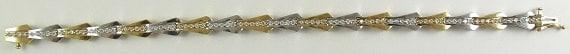 Diamond 1.22 ct Bracelet 14k White and Yellow Gold