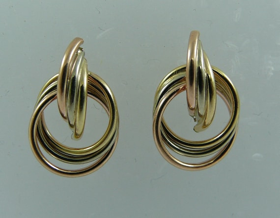 Tri-Color Earring 14k Gold
