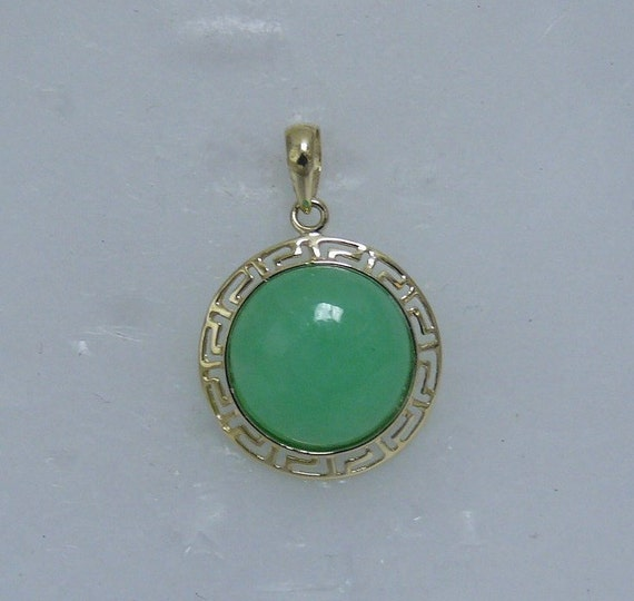 Green Jade 12mm Pendant 14k Yellow Gold