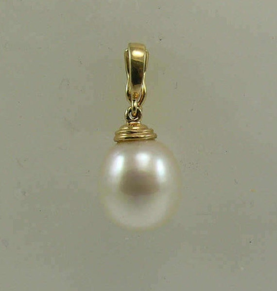 South Sea White Baroque 11.6 x 12.7 mm Pearl Pendant 14k Yellow Gold