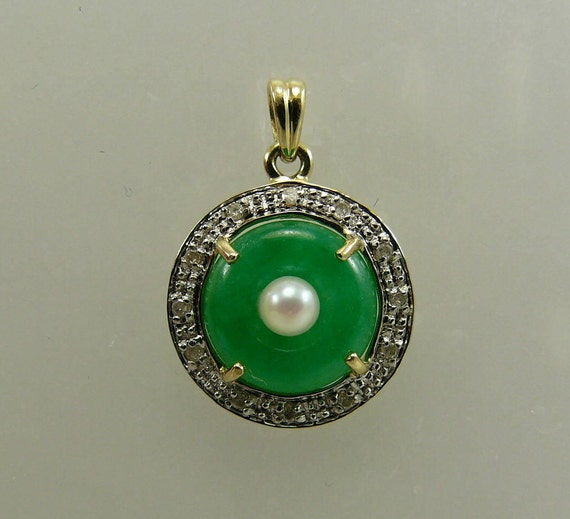 Green Jade and Freshwater White Pearl Pendant with 14k Yellow Gold Diamonds