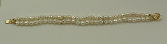 Freshwater Pearl Double Strand Bracelet 14k Yellow Gold Clasp & Diamond Bars