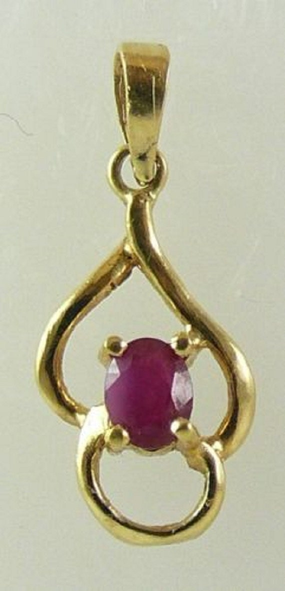 Ruby 2.5mm x 3.5mm Pendant 18k Yellow Gold