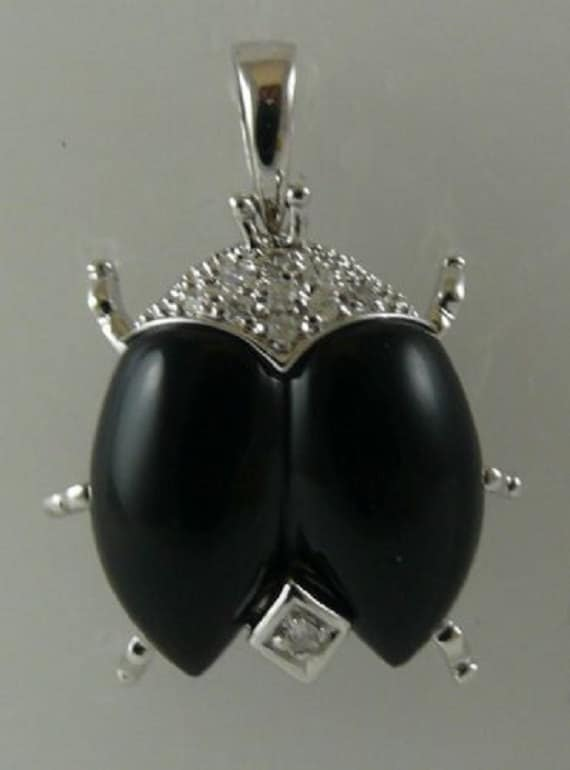 Black Onyx Pendant 14k White Gold & Diamonds 0.06ct