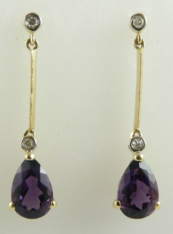 Amethyst 2.76ct Earrings 14k Yellow Gold & Diamonds 0.08ct