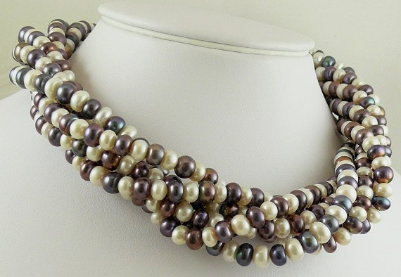 "Freshwater Multicolor Pearl Necklace With Silver Clasp 18"" Long"