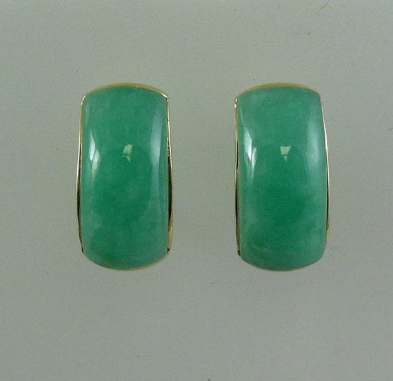 Green Jade Earrings 14k Yellow Gold
