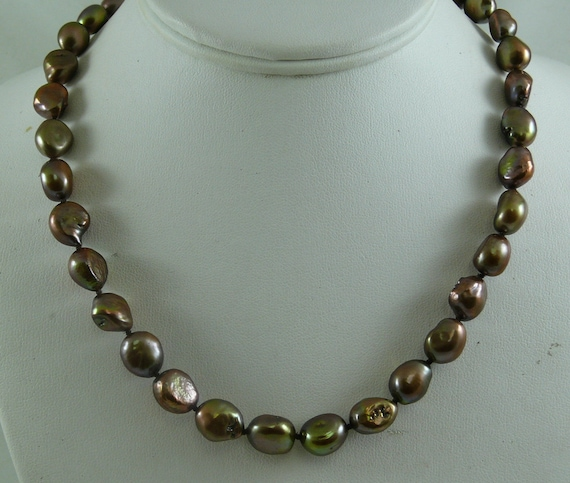 Freshwater Chocolate Pearl Necklace 14k Yellow Gold 18 Inches
