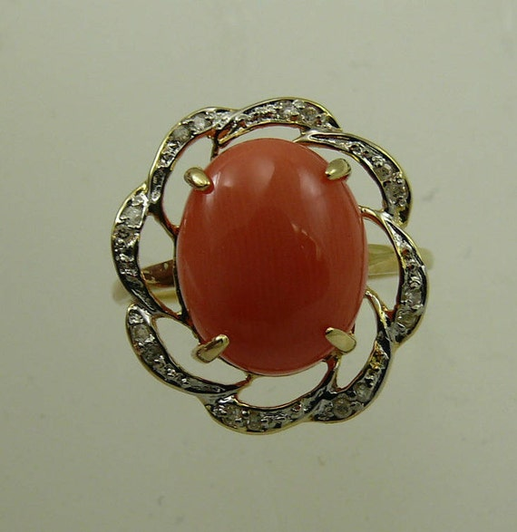 Coral 12.3 mm x 10 mm Ring 14k Yellow Gold and Diamonds 0.08ct