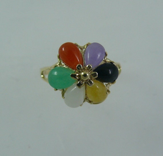 Jade Multi Color 4 x 6 mm Pear Shape Cluster Ring 14k Yellow Gold