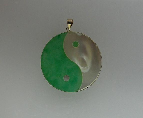 Green Jade and Mother of Pearl Yin Yang Pendant 14k Yellow Gold