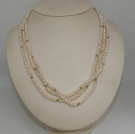 """Freshwater Triple Strand Pearl Necklace With 14k Yellow Gold Beads and Clasp 33"""""""