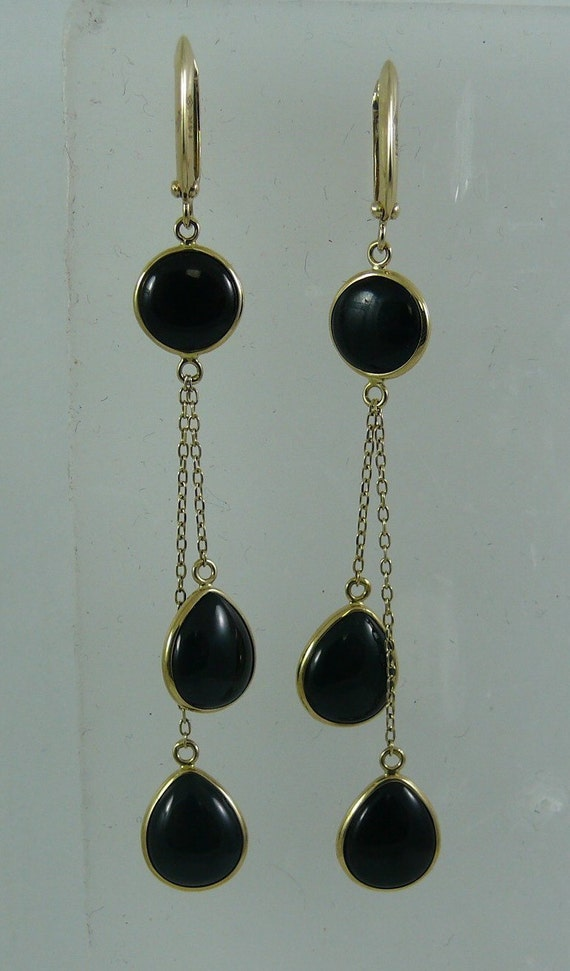 Black Onyx Dangle Earrings 14k Yellow Gold