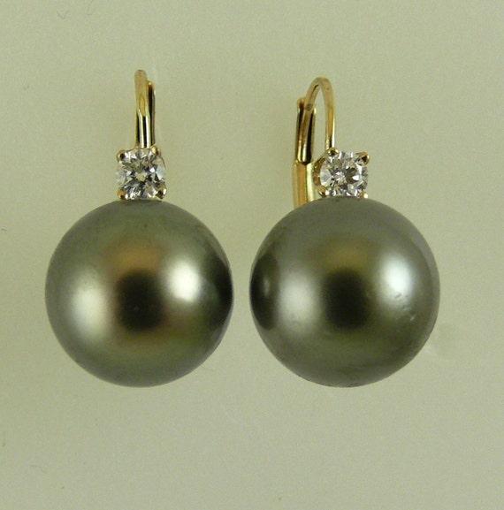 Tahitian Black 11.1 mm and 10.9mm Pearl Earrings 14k Yellow Gold & Diamonds 0.21ct