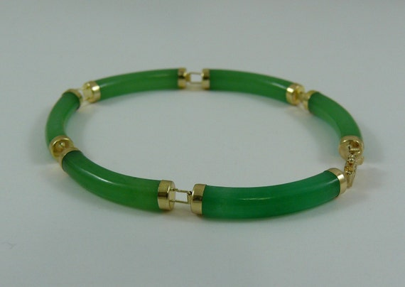 Green Jade Bracelet 14k Yellow Gold 7 1/4 Inches