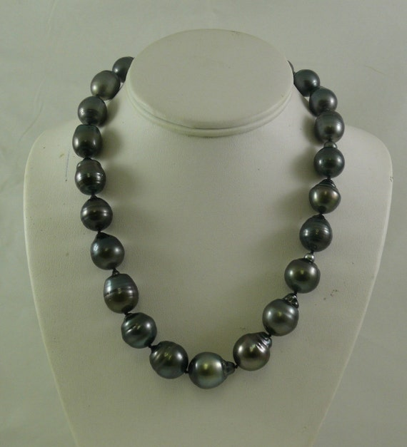 Tahitian Black 14.0 - 16.5 mm Baroque Pearl Necklace 14k White Gold Clasp 19""