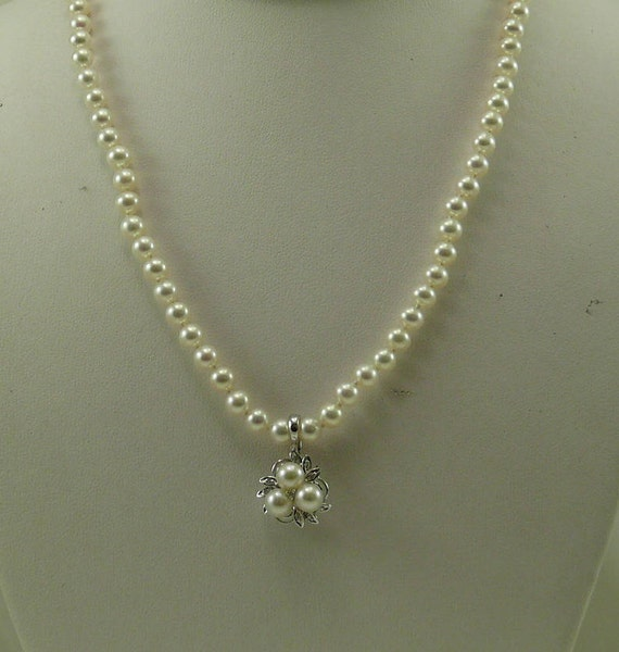 Freshwater White Pearl Necklace with Pendant 14k White Gold and Diamonds 0.08ct